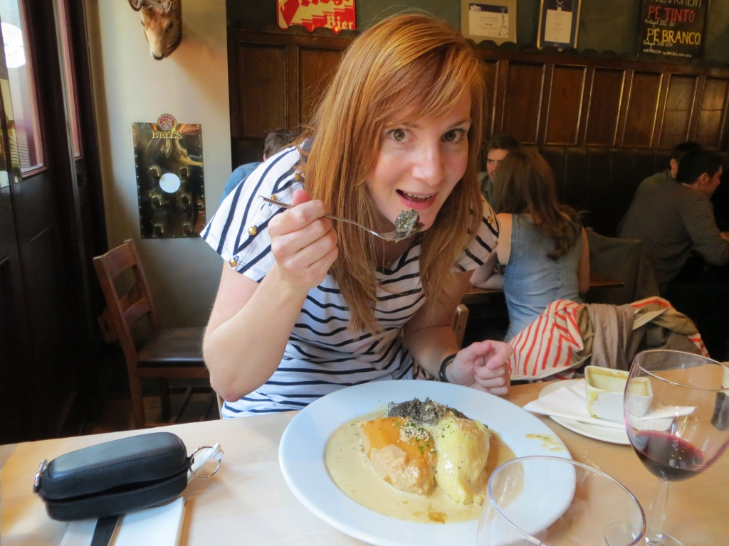 Katie enjoying some haggis!