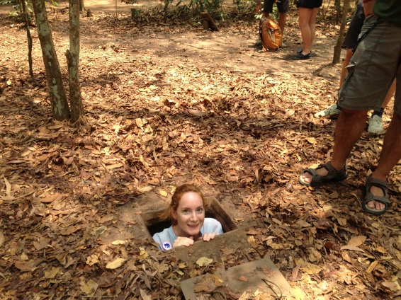 Katie poping out a tunnel